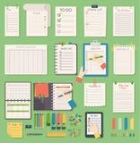 Nota del planificador del negocio del orden del día del cuaderno del vector Nota del negocio del orden del día del recordatorio d stock de ilustración