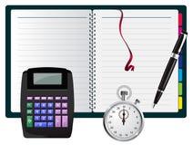 Nota del vector con la calculadora, la pluma y el cronómetro Imagen de archivo