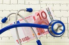 Nota dell'euro dieci e dello stetoscopio Fotografia Stock Libera da Diritti
