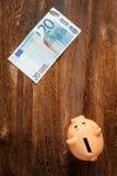 Nota dell'euro venti e del porcellino salvadanaio Immagine Stock Libera da Diritti