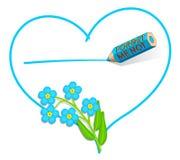 Nota di amore ?del nontiscordardime? Fotografia Stock Libera da Diritti