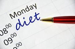 Nota di dieta Immagine Stock