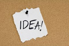 Nota di idea sulla bacheca Fotografia Stock Libera da Diritti