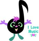 Nota di musica che dice musica di amore di I Immagine Stock Libera da Diritti