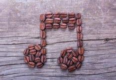 Nota di musica dei chicchi di caffè Immagine Stock Libera da Diritti