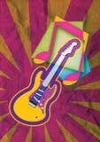 Nota di musica della chitarra di lerciume Immagini Stock