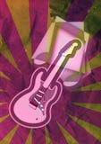 Nota di musica della chitarra di lerciume Fotografia Stock