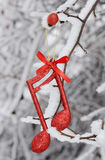 Nota di musica di Natale, scena di Natale, decorazione Immagine Stock Libera da Diritti