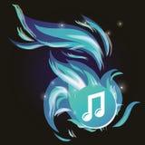Nota di musica di vettore con la fiamma blu fredda Immagini Stock