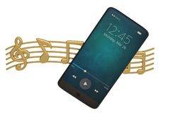 Nota di musica e concetto dell'audio dello Smart Phone illustrazione 3D illustrazione di stock