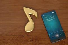 Nota di musica e concetto dell'audio dello Smart Phone illustrazione 3D royalty illustrazione gratis