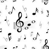 Nota di musica senza cuciture Modello d'annata della nota musicale della chiave tripla di armonia della doga di musica classica d illustrazione vettoriale