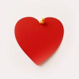 Nota di post-it di forma del cuore Immagini Stock