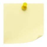 Nota di post-it gialla Fotografie Stock Libere da Diritti
