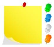 Nota di post-it gialla in bianco Fotografia Stock Libera da Diritti