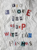 Nota di riscatto con il messaggio contro il fumo Fotografia Stock Libera da Diritti