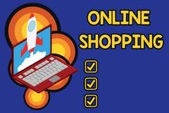 Nota di scrittura che mostra acquisto online Montrare della foto di affari permette che i consumatori comprino le loro merci su I royalty illustrazione gratis