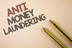 Nota di scrittura che mostra anti Monay Laundring La foto di affari che montra entrare proietta andare via i soldi sporchi e puli Fotografia Stock Libera da Diritti