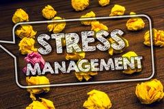 Nota di scrittura che mostra gestione dello stress La foto di affari che montra la sanità della positività di rilassamento di ter Fotografie Stock Libere da Diritti