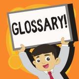 Nota di scrittura che mostra glossario Foto di affari che montra elenco di termini alfabetico con vocabolario di significati illustrazione vettoriale