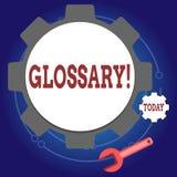 Nota di scrittura che mostra glossario Foto di affari che montra elenco di termini alfabetico con vocabolario di significati royalty illustrazione gratis