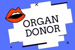 Nota di scrittura che mostra il donatore di organo Foto di affari che montra dimostrazione di A cui offre un organo dal loro corp royalty illustrazione gratis