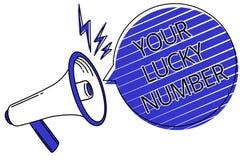 Nota di scrittura che mostra il vostro Lucky Number Foto di affari che montra credere nel announ dello scritto del casinò di prob illustrazione vettoriale