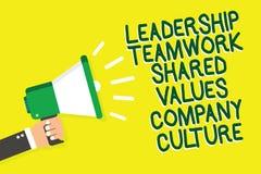 Nota di scrittura che mostra la cultura di Leadership Teamwork Shared Values Company Foto di affari che montra gruppo Team Succes illustrazione vettoriale