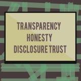 Nota di scrittura che mostra la foto di affari di fiducia di rivelazione di onestà della trasparenza che montra agenda politica v illustrazione di stock