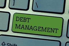 Nota di scrittura che mostra la gestione di debito Foto di affari che montra l'accordo ufficiale fra un debitore e un creditore immagini stock