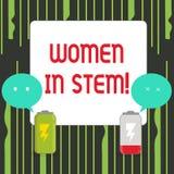 Nota di scrittura che mostra le donne nel gambo Foto di affari che montra lo scienziato di matematica di ingegneria di tecnologia illustrazione di stock