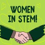 Nota di scrittura che mostra le donne nel gambo Foto di affari che montra lo scienziato di matematica di ingegneria di tecnologia illustrazione vettoriale