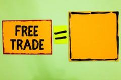 Nota di scrittura che mostra libero scambio Foto di affari che montra la capacità di comprare e vendere sui vostri propri termini immagini stock libere da diritti
