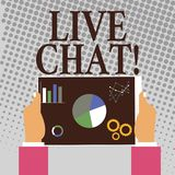 Nota di scrittura che mostra Live Chat Foto di affari che montra conversazione sulla comunicazione su mezzi mobili di multimedia  illustrazione vettoriale