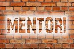 Nota di scrittura che mostra mentore Foto di affari che montra persona che dà il consiglio o il supporto ad un più giovane muro d immagine stock libera da diritti