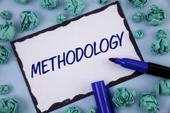 Nota di scrittura che mostra metodologia La foto di affari che montra il sistema dei metodi impiegati in uno studio o in un'attiv fotografie stock libere da diritti