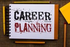 Nota di scrittura che mostra pianificazione di carriera Foto di affari che montra whi educativo di Job Growth Text di strategia d fotografia stock libera da diritti