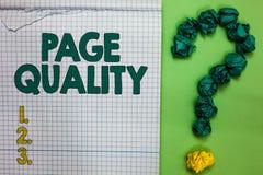 Nota di scrittura che mostra qualità della pagina Foto di affari che montra efficacia di un sito Web in termini di quadrato di fu immagini stock