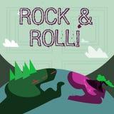 Nota di scrittura che mostra rock-and-roll Foto di affari che montra il tipo musicale del genere di suono pesante del battito di  illustrazione vettoriale