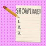 Nota di scrittura che mostra Showtime La foto di affari che montra il tempo un evento di Perforanalysisce di concerto del film de illustrazione di stock