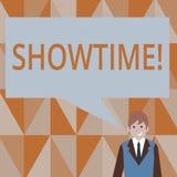 Nota di scrittura che mostra Showtime La foto di affari che montra il tempo un evento di Perforanalysisce di concerto del film de illustrazione vettoriale