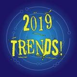 Nota di scrittura che mostra 2019 tendenze Foto di affari che montra direzione generale in cui qualcosa sta sviluppandosi o illustrazione di stock