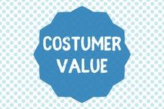 Nota di scrittura che mostra valore del costume Foto di affari che montra importo delle prestazioni che i clienti ottengono dall' fotografia stock