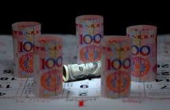 Nota di valuta della Cina Stati Uniti Immagini Stock