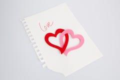 Nota do amor Fotos de Stock