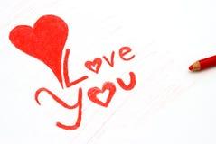 Nota do amor Fotografia de Stock