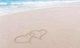 Nota do amor na areia Fotografia de Stock