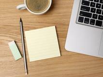 Nota do copo e do esparadrapo de café Imagem de Stock