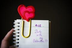 Nota do dia de Valentim fotografia de stock royalty free