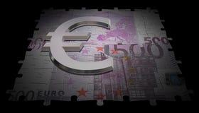 nota do euro 500 e símbolo do vidro Ilustração Stock